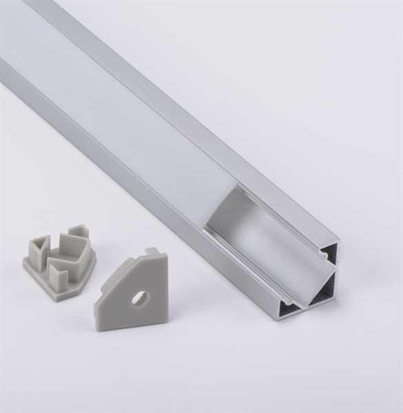 LED Eckprofil mit Abdeckung und Endkappe