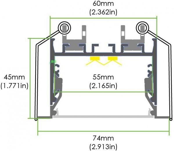 LED Deckeneinbau Lichtleiste LE-ER60