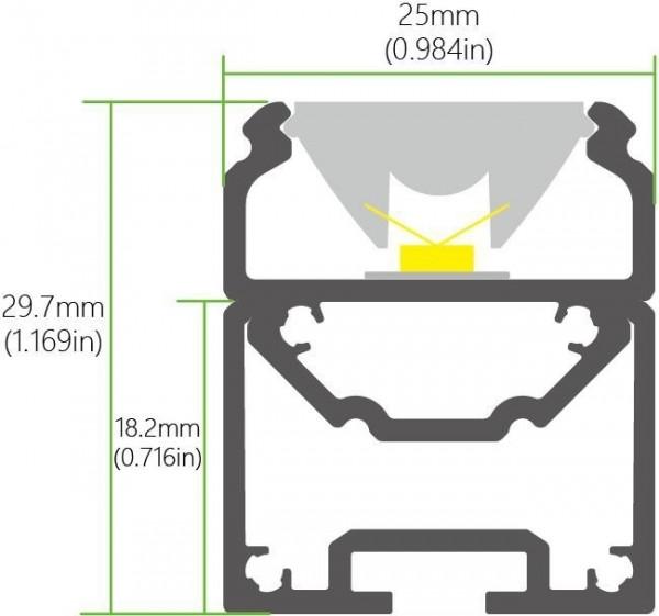 LED Pendelprofil jeweils um 45 Grad verdrehbar